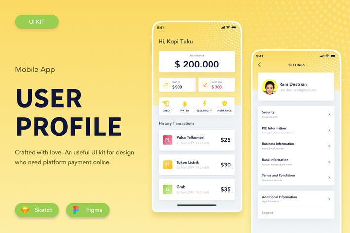 Thumbnail for Finance User Profile Figma Sketch