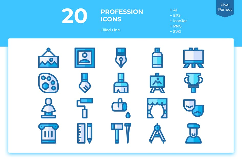 Download 20 Art Icons (Filled Line) by inipagi
