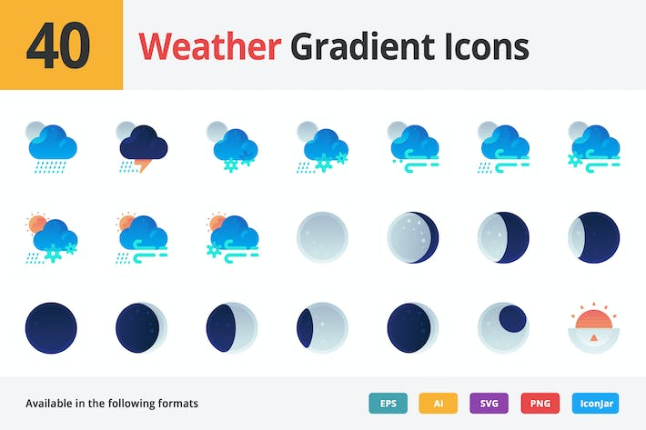 Thumbnail for Weather Vector Gradient Icons