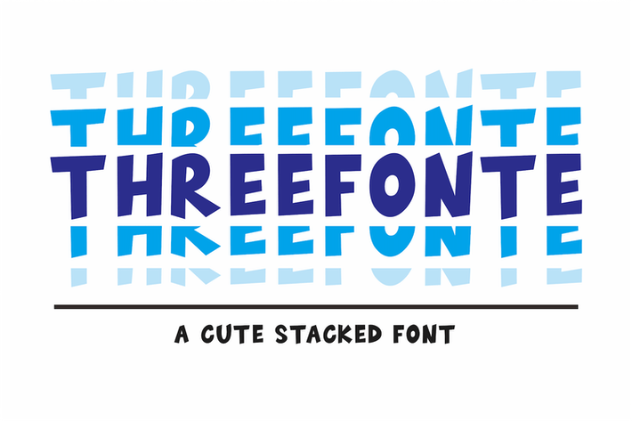 Thumbnail for Threefonte - Cute Stacked Font