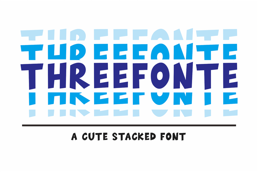 Threefonte - Cute Stacked Font