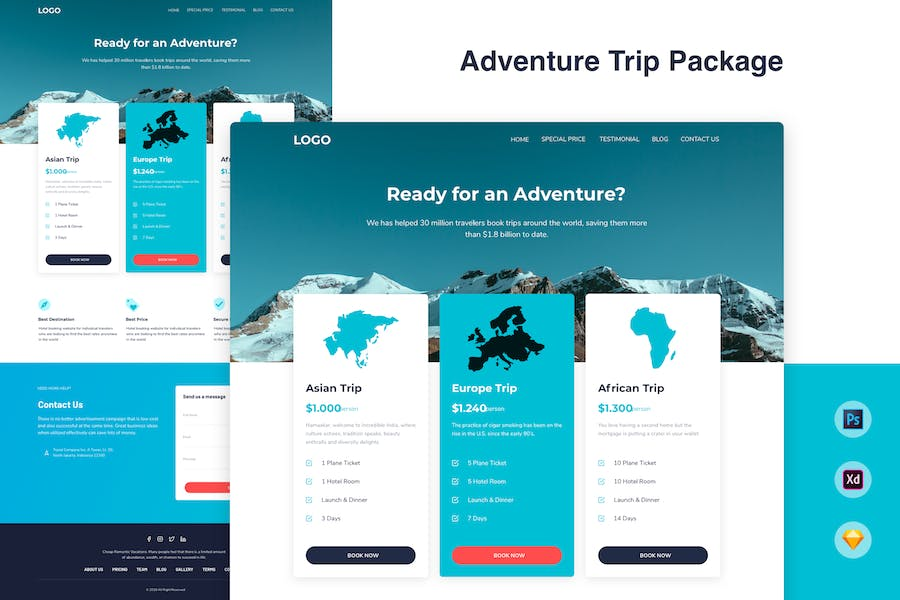 Pricing Table Landing Page Template - Trip Package