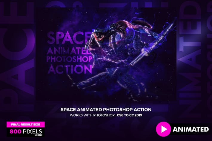 Thumbnail for Animated Space Photoshop Action