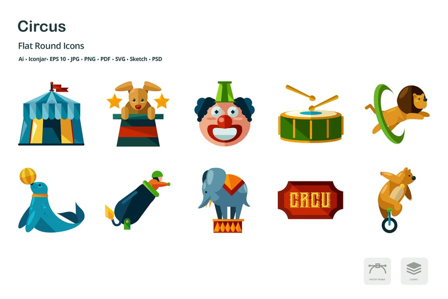 Circus Entertainment Flat Colored Icons