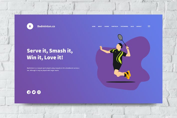 Cover Image For Badminton Web Header PSD and Vector Template