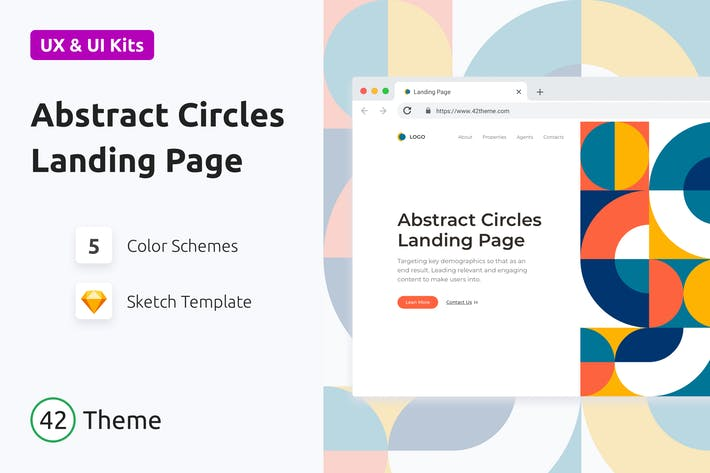 Thumbnail for Abstract Circles Landing Page in Bauhaus Style