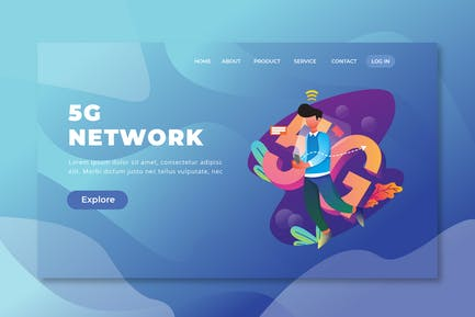 5G Network - PSD and AI Vector Landing Page
