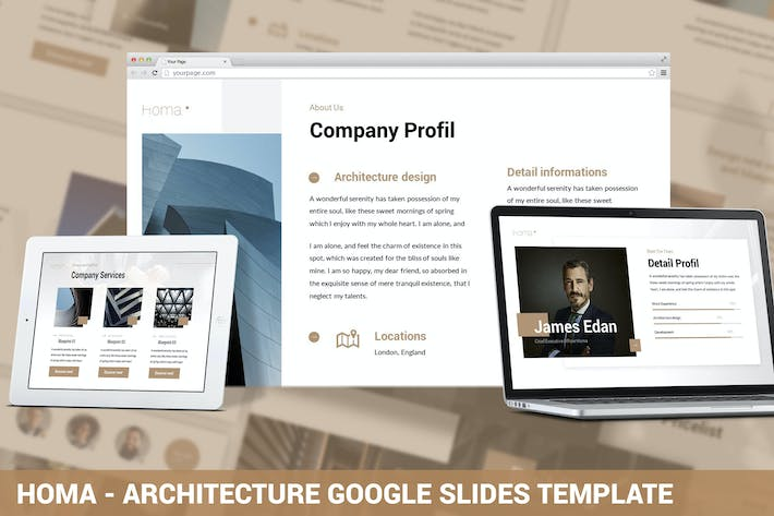 Thumbnail for Homa - Architecture Google Slides Template