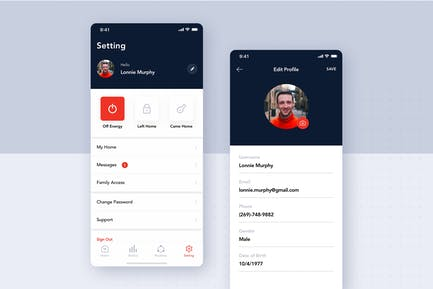 Setting Profile screen concept for Smart home app