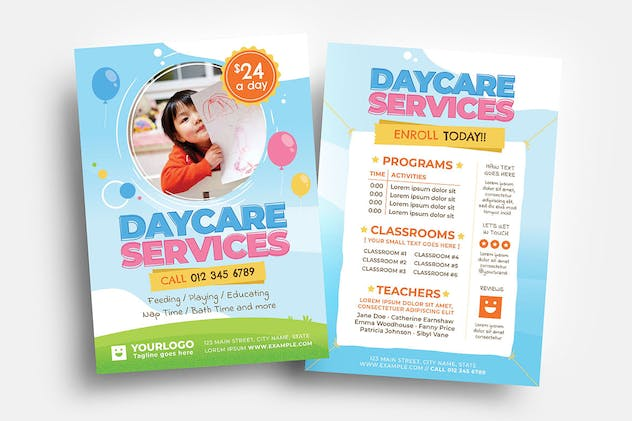 Daycare Flyer/Table Tent Template