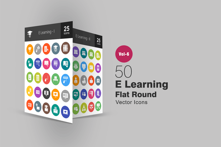 50 E Learning  Glyph Multicolor BG Icons
