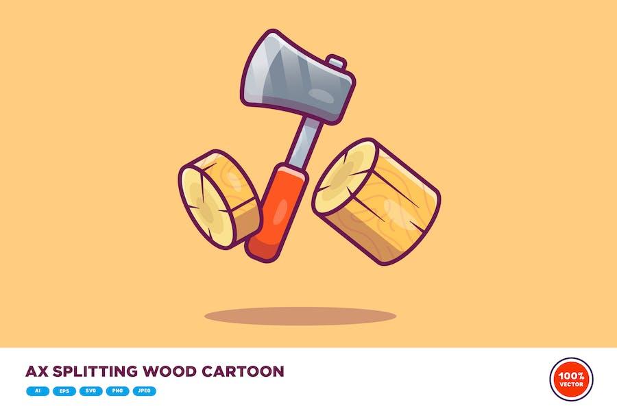 Ax Splitting Wood Cartoon