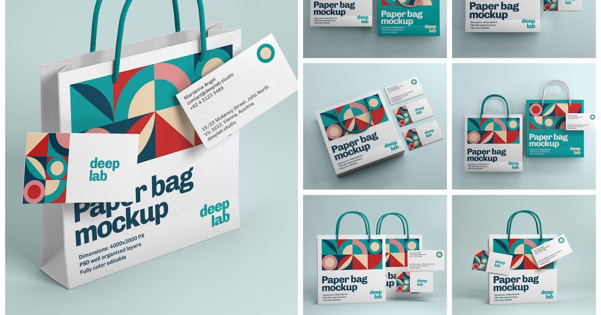 Download Paper Bag and Business Card Branding Mockup Set by deeplabstudio