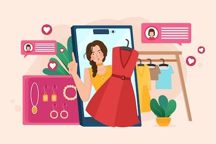 Live-Streaming, um Mode online von Blogger zu verkaufen