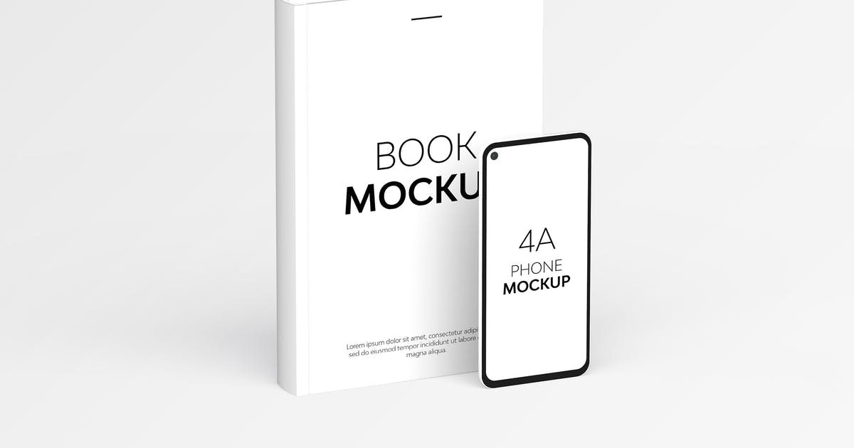 Download Book & 4A Phone Mockup by UnicDesign