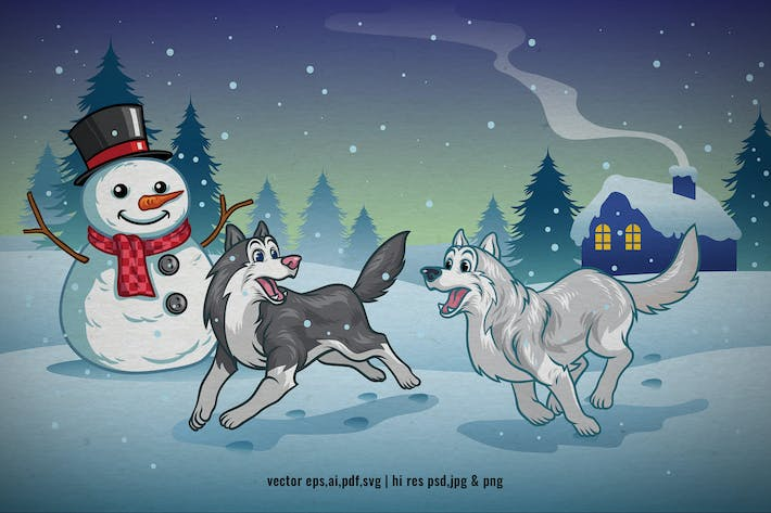 Thumbnail for cartoon dogs playing in the winter night