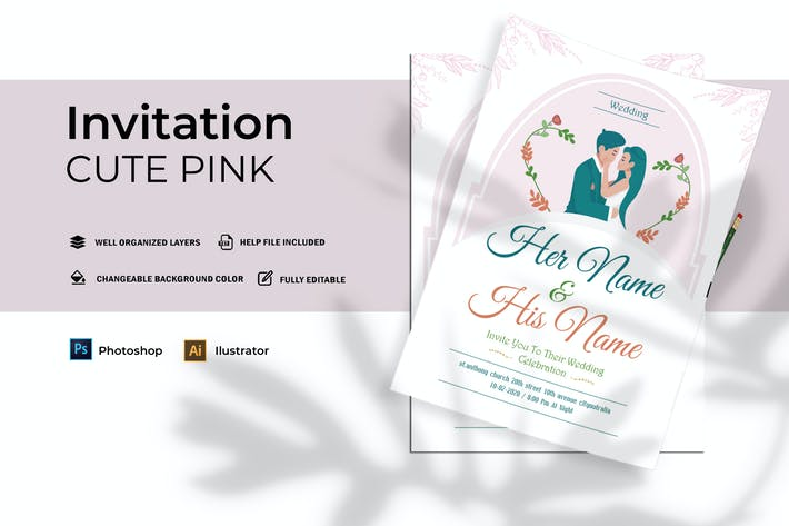 Thumbnail for Cute Pink Wedding | Invitation