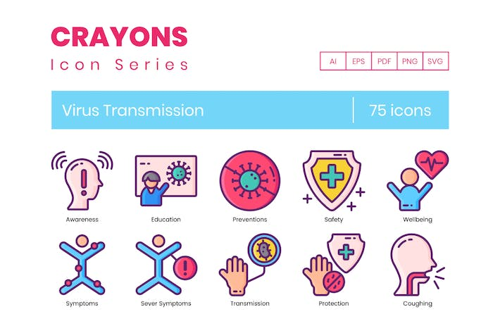 Thumbnail for 75 Virus Transmission Line Icons