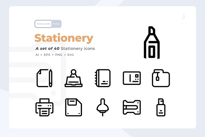Thumbnail for Smoothline - 40 Stationery  icon set