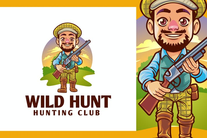 Thumbnail for Logo mascotte de chasse dessin animé