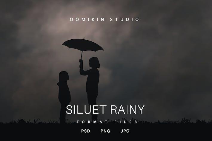 Silhouette Rainy Illustration