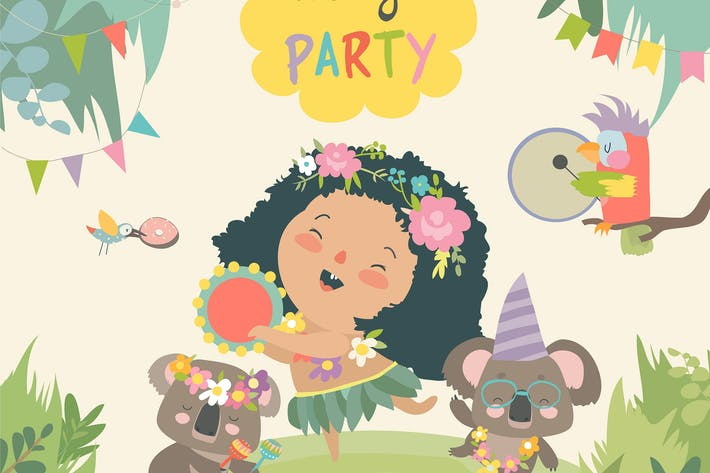 Cover Image For Cute koalas dancing with little girl. Vector illus