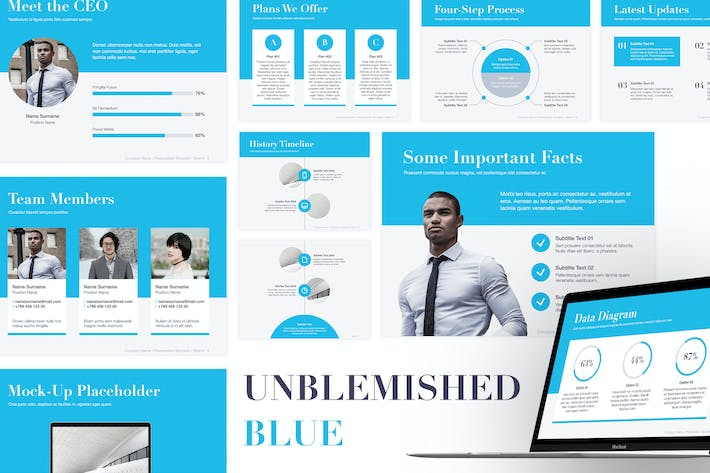 Thumbnail for Unblemished Blue Keynote Template