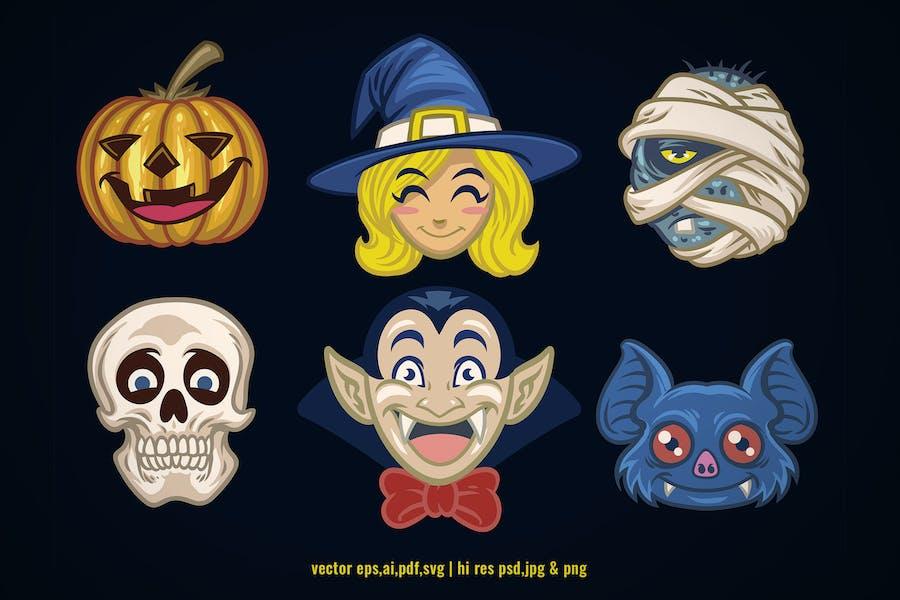 set vector of halloween cartoon head character