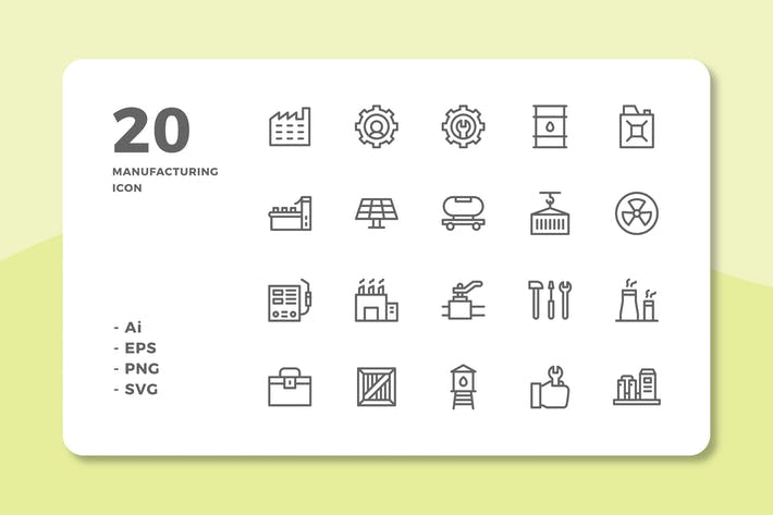 Thumbnail for 20 Manufacturing Icons (Line)