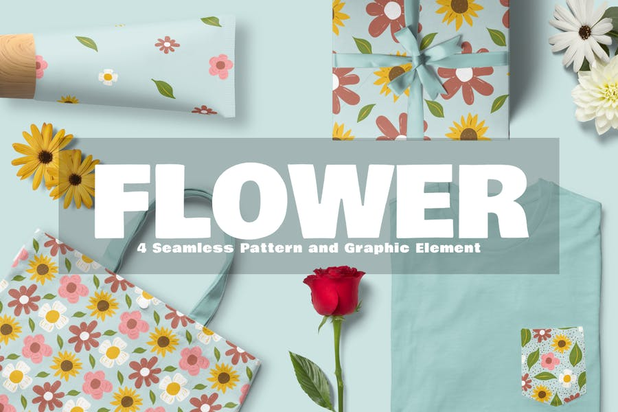Blume Nahtloses Muster und grafisches Element