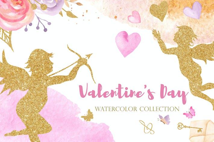 Thumbnail for Aquarelle Saint-Valentin. Rose et Or