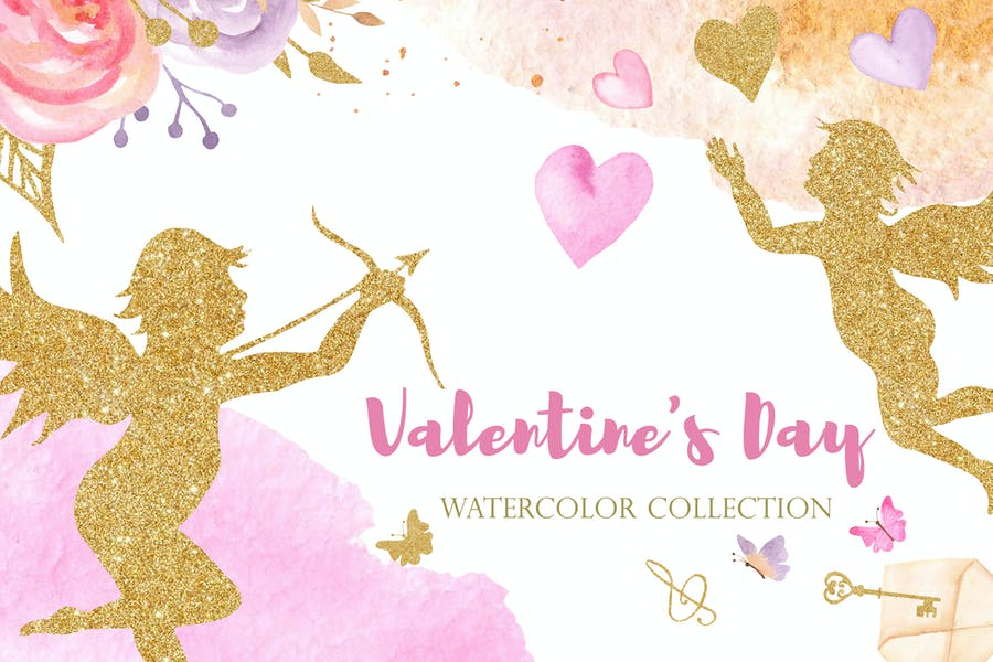 Watercolor Valentine's Day. Pink and Gold