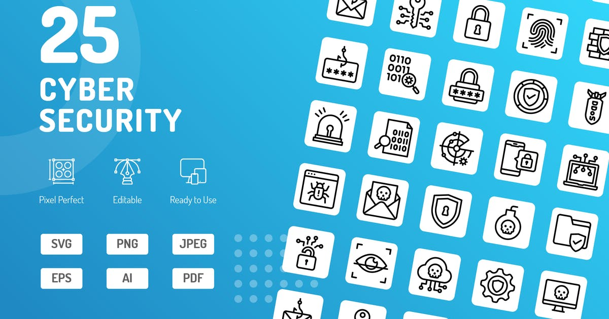 Download Cyber Security Line Icons by kerismaker