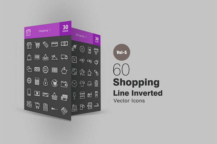 Thumbnail for 60 Shopping Line Inverted Icons