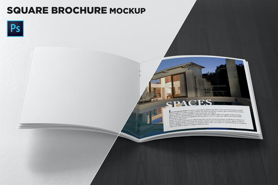 Square Brochure Open Pages Mockup Front View
