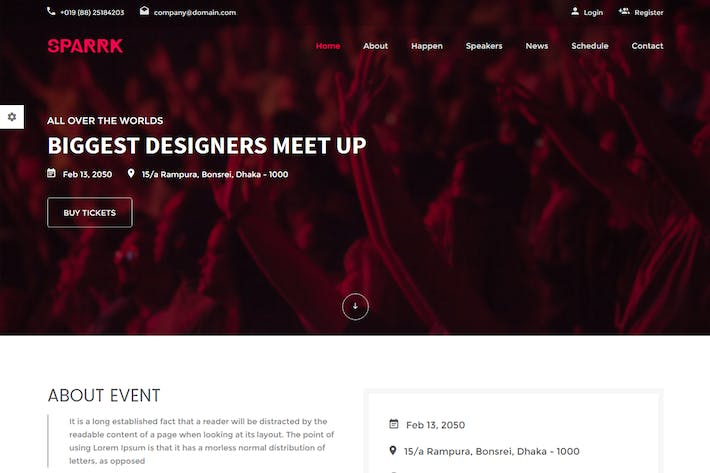 Thumbnail for Sparrk – Event Bootstrap Template