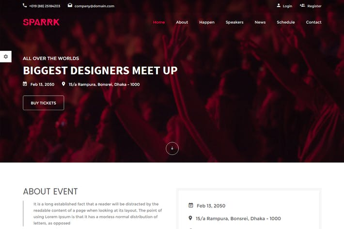 Thumbnail For Sparrk Event Bootstrap Template