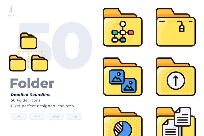 Thumbnail for 50 Folder Icon set - Detailed Round line