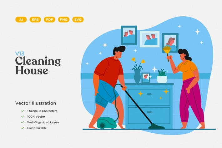 Thumbnail for Cleaning House Flat Illustration