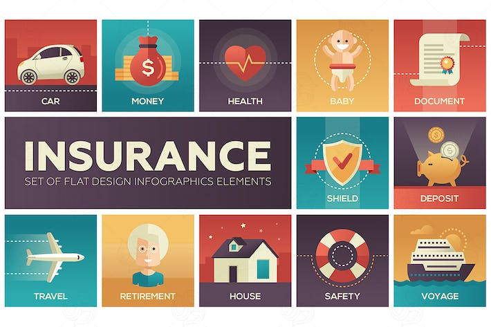 Thumbnail for Types of Insurance - modern flat design icons