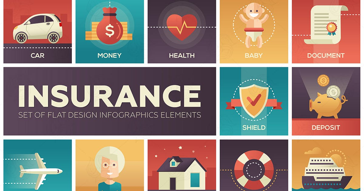 Download Types of Insurance - modern flat design icons by BoykoPictures
