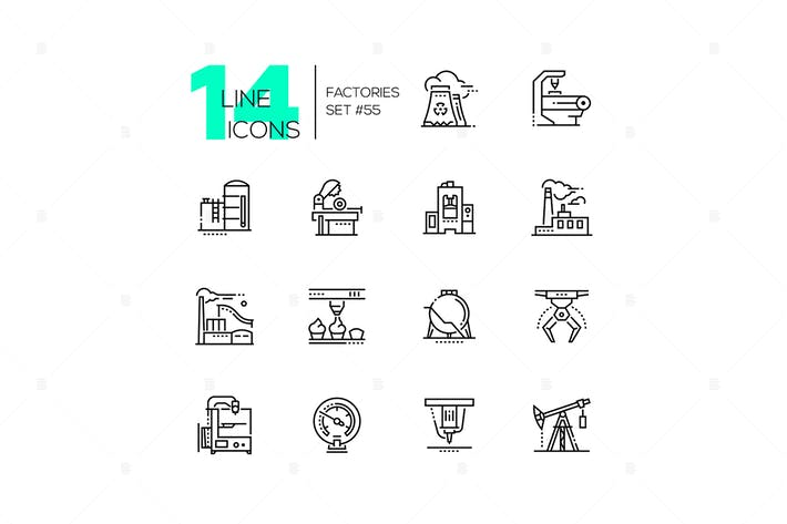 Thumbnail for Factories - modern thin line design icons set