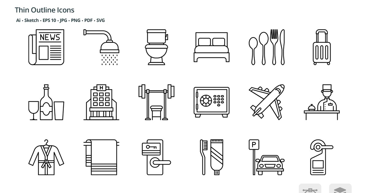 Download Hotel and accommodation thin outline icons by roundicons