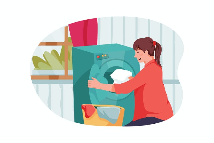 Thumbnail for A woman bringing clothes to the washing machine