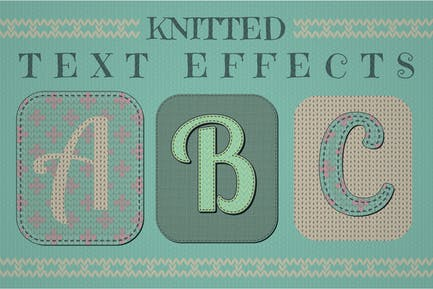 Knitted Text Effects. Graphic Styles