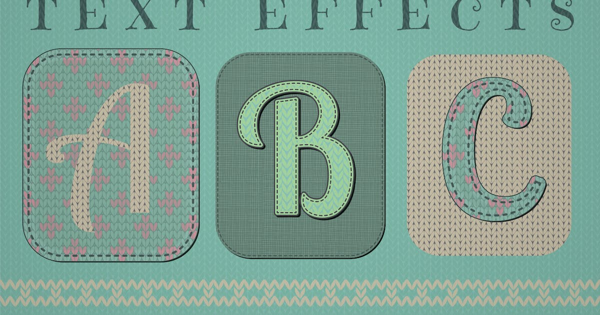Download Knitted Text Effects. Graphic Styles by helga_helga