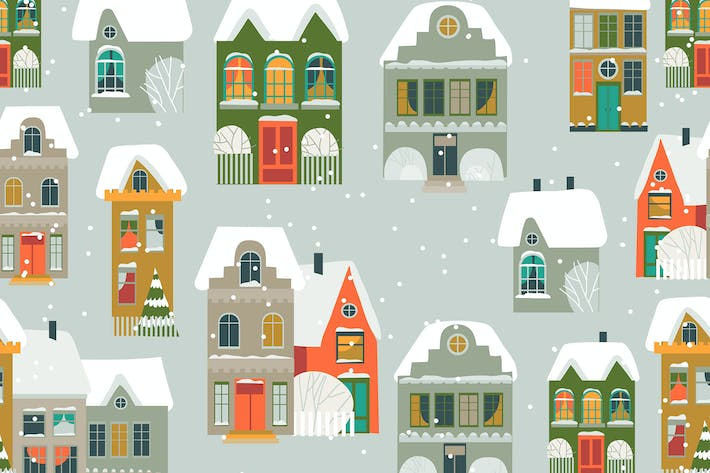 Thumbnail for Vector seamless pattern with cartoon little town