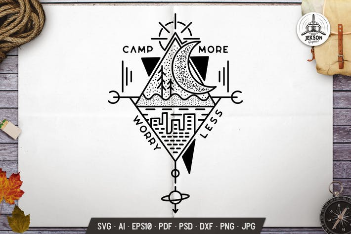 Camp Mehr Worry Less Linie Art-Emblem