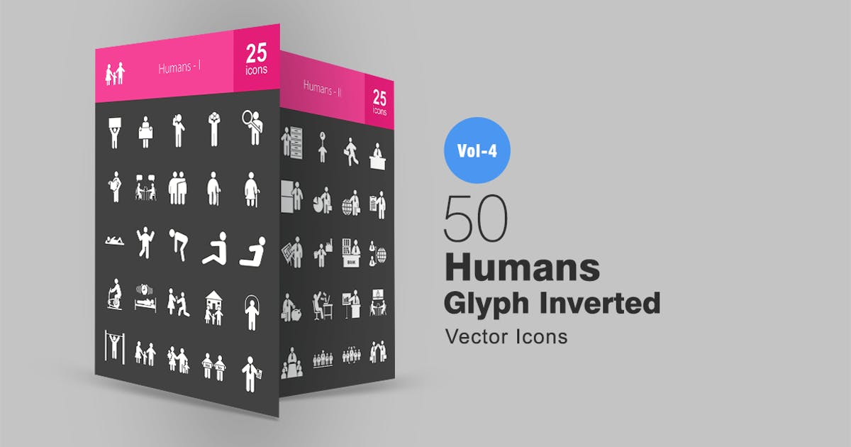 Download 50 Humans Glyph Inverted Icons by IconBunny