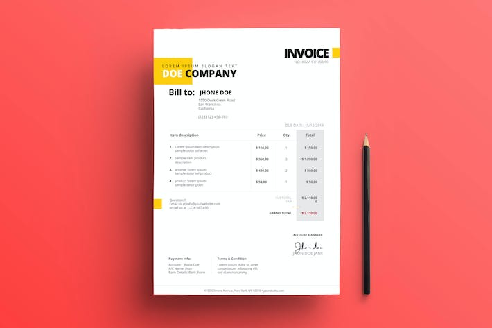 Thumbnail for Business Invoice 01 Yellow Accent